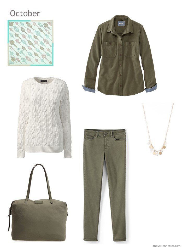 19. olive and ivory October outfit
