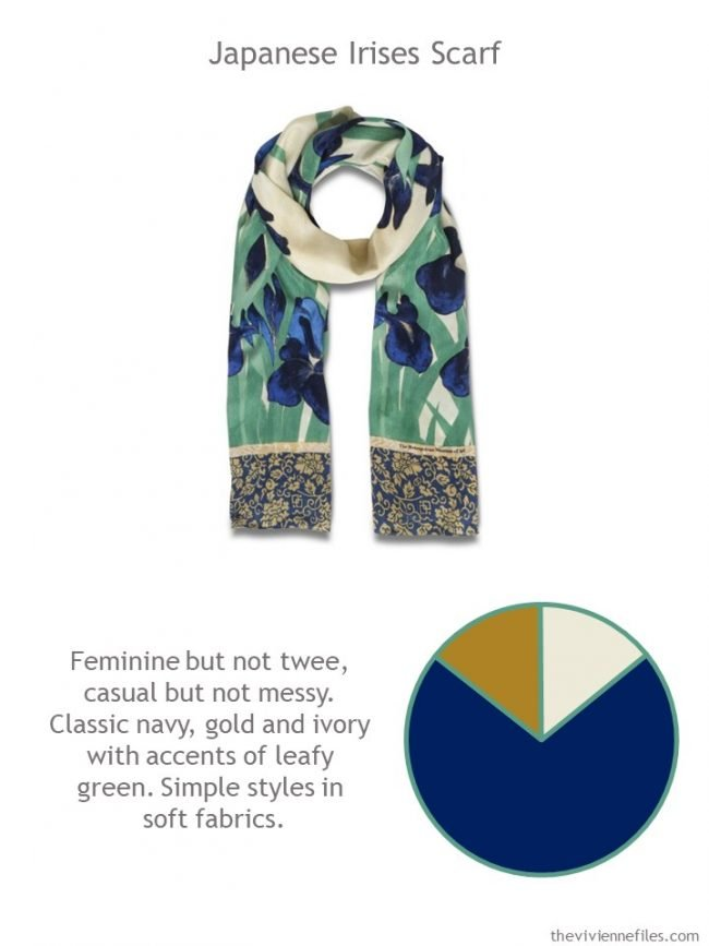2. Japanese Irises scarf with style guidelines and color palette