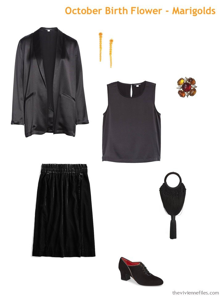 2. black with marigold accents