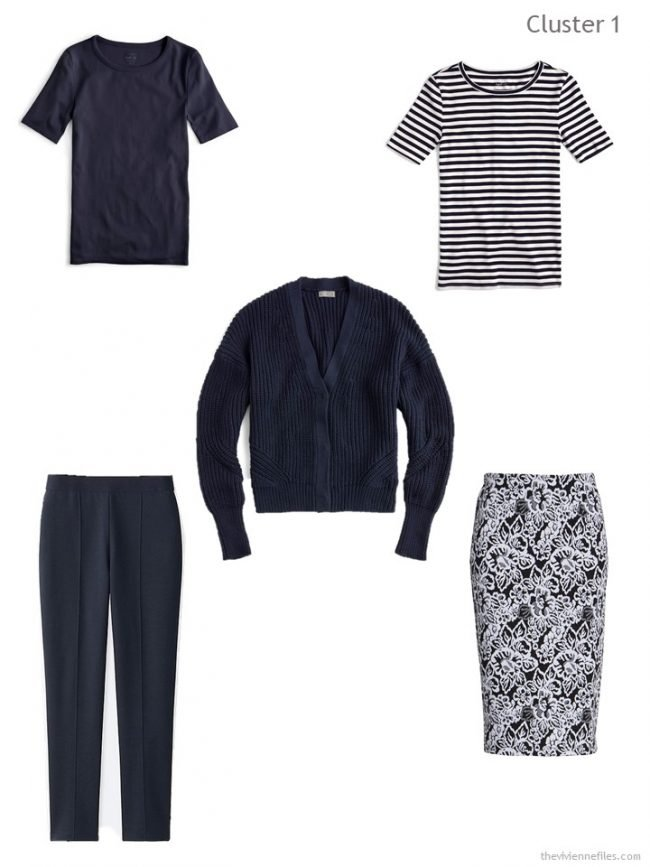 2. wardrobe cluster based around a navy cardigan