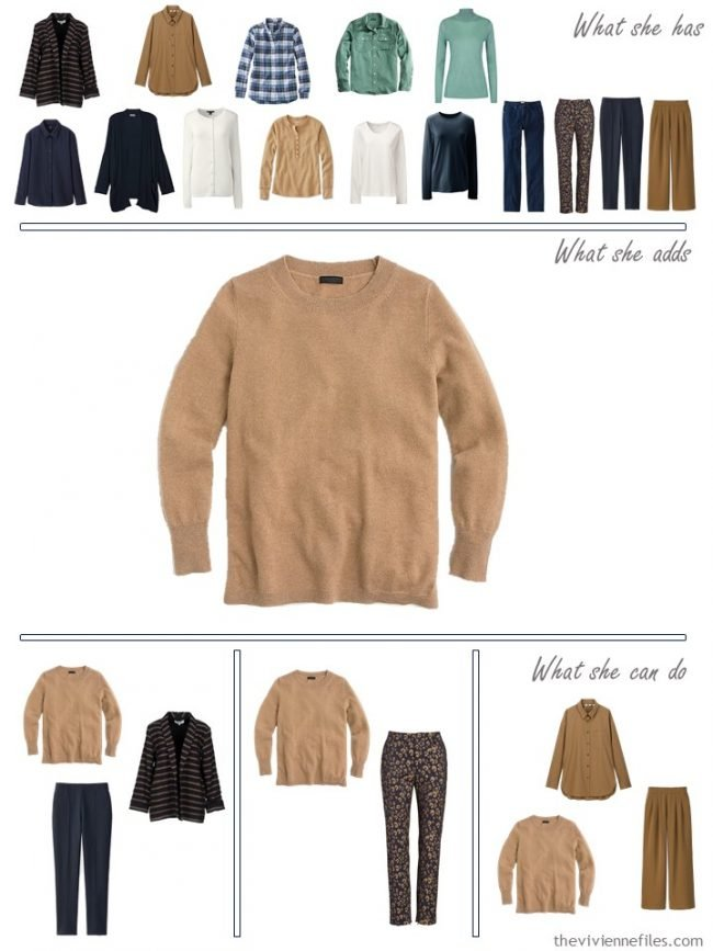 20. adding a camel sweater to a capsule wardrobe