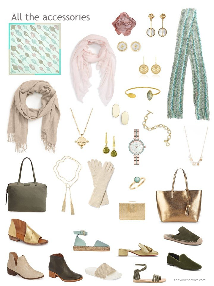 21. accessories for a mostly olive and green wardrobe
