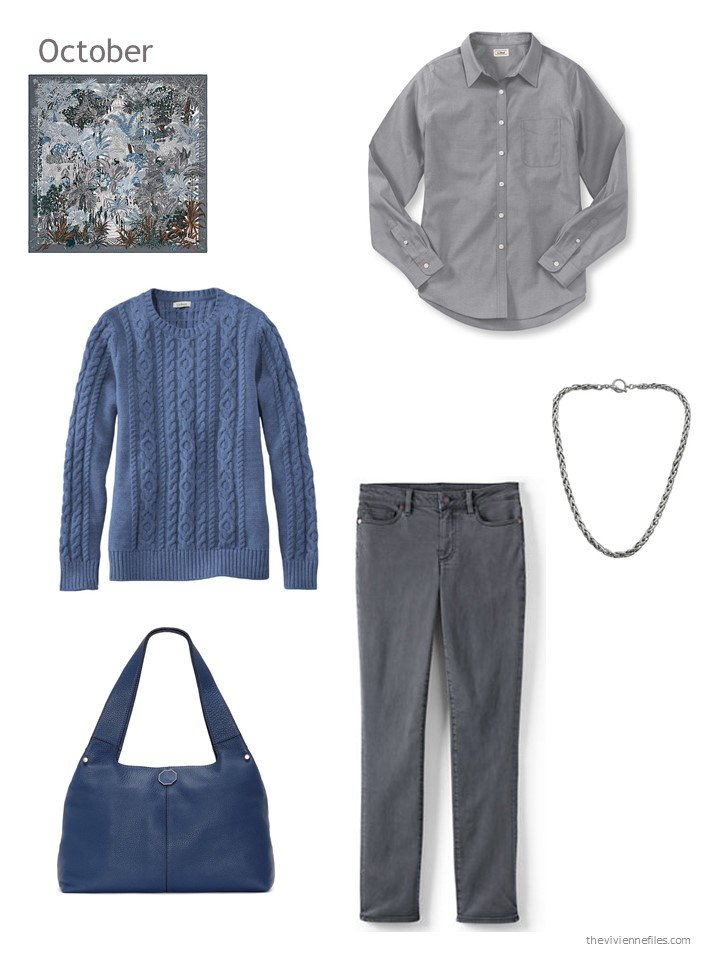 25. blue and grey October outfit