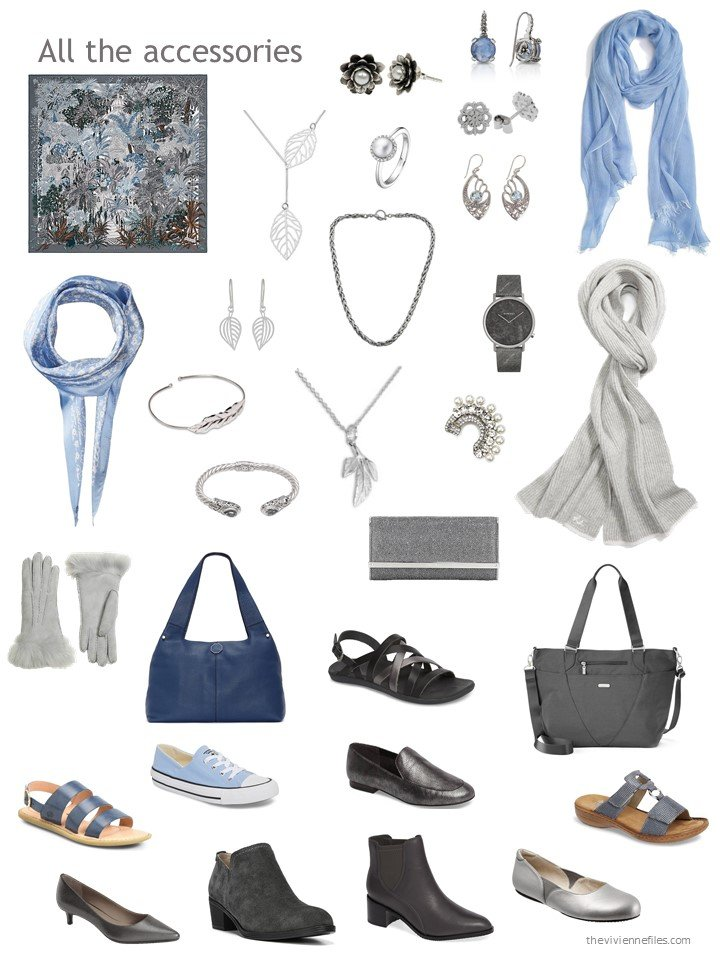27. accessories for a blue and grey wardrobe