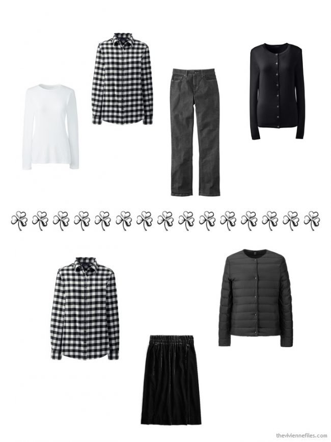 3. 2 ways to wear a black & white checked flannel shirt