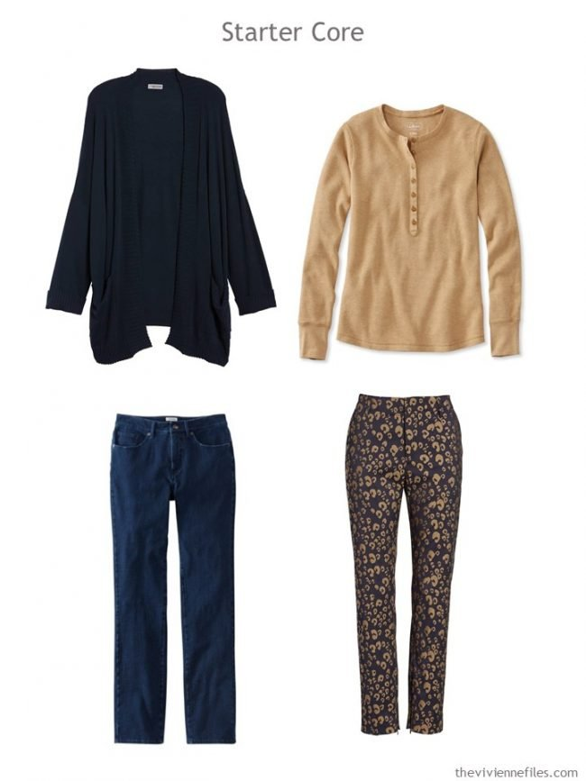 3. 4-piece wardrobe in navy and camel