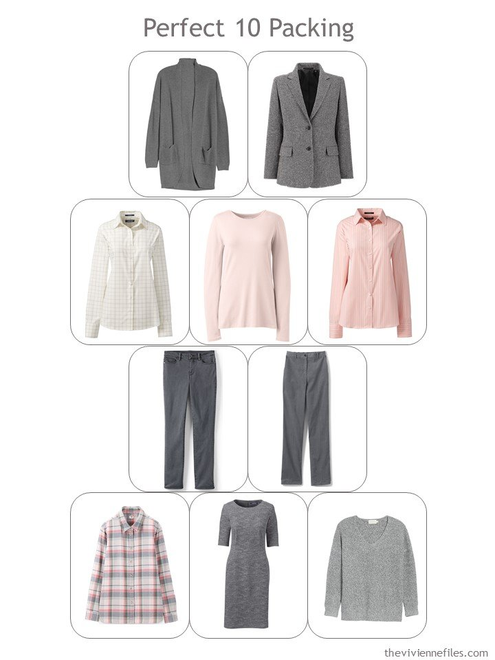 3. Perfect 10 Travel Wardrobe in grey and blush