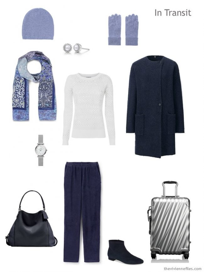 3. navy and white travel outfit