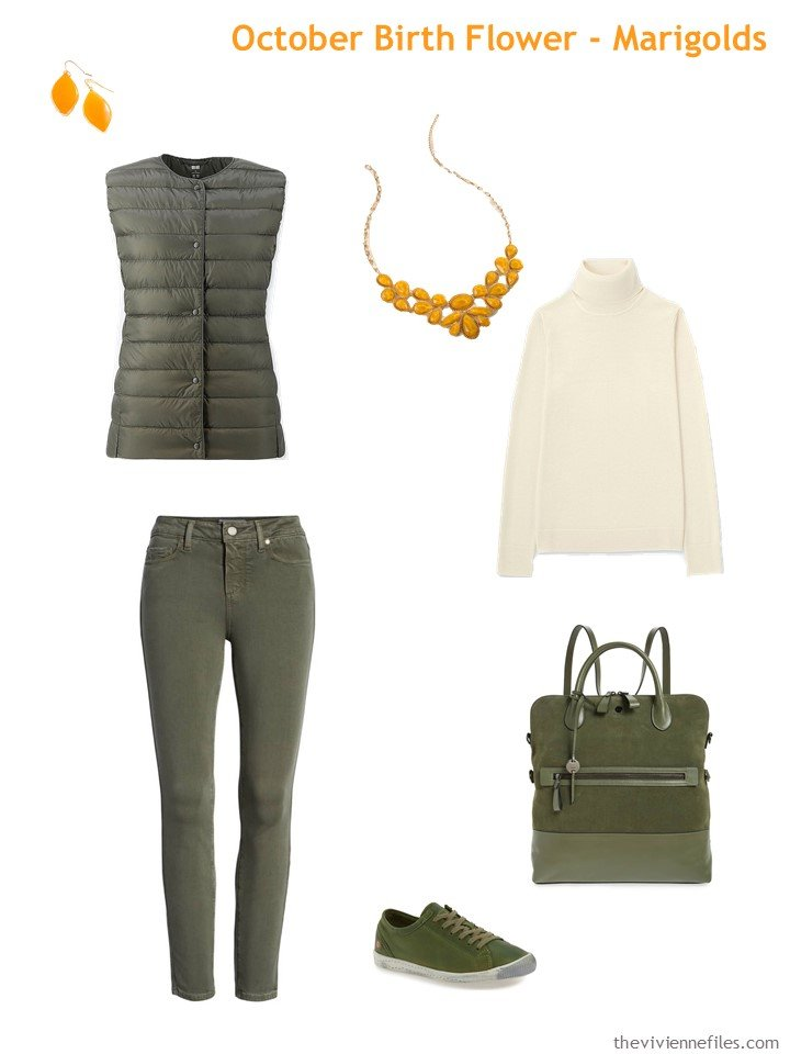 3. olive with marigold accents