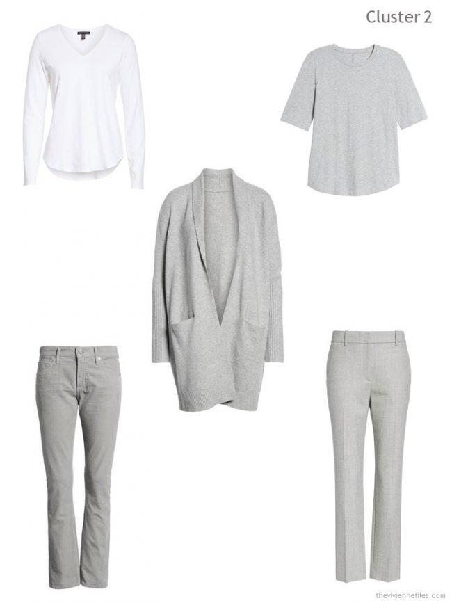 3. wardrobe cluster based on a grey cardigan