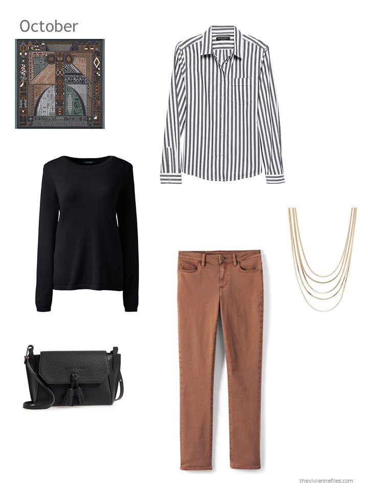31. black, white and brown October outfit