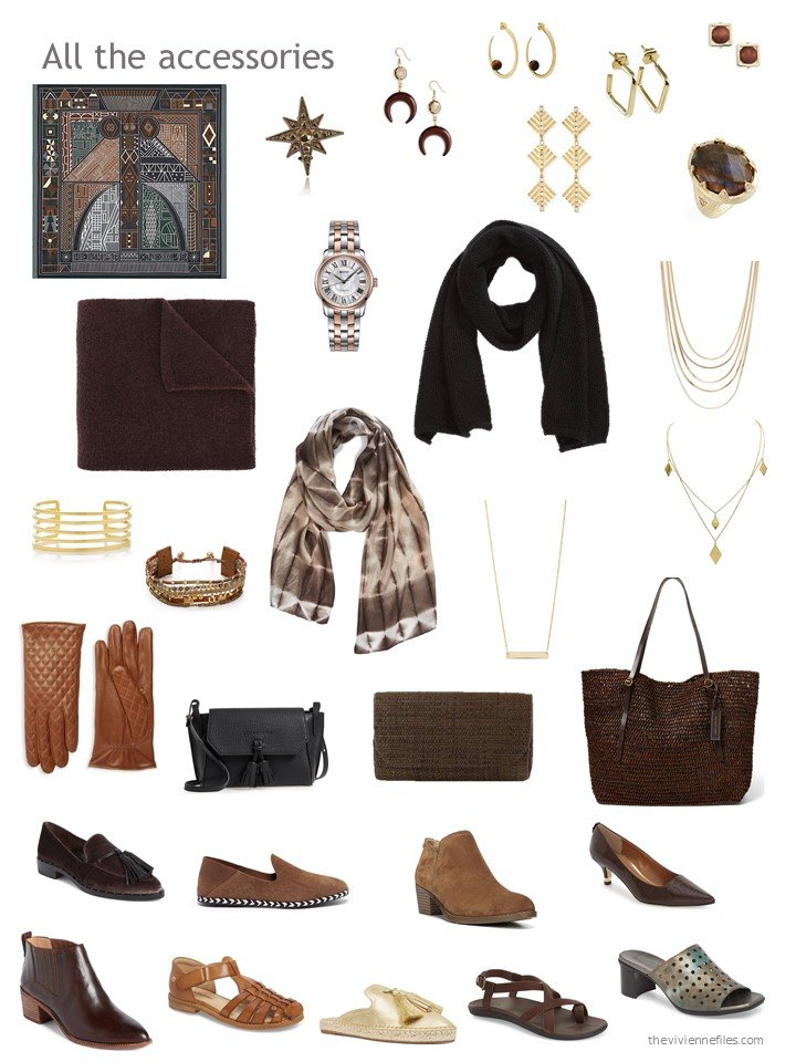 33. accessories for a mostly brown wardrobe