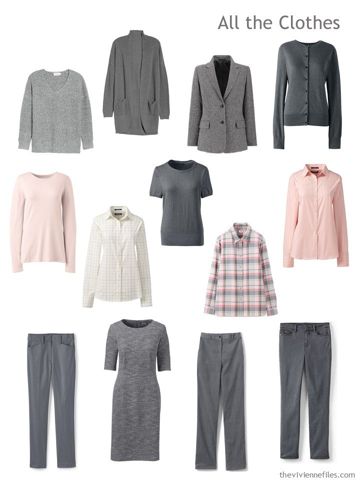 4. 13-piece travel wardrobe in grey and blush