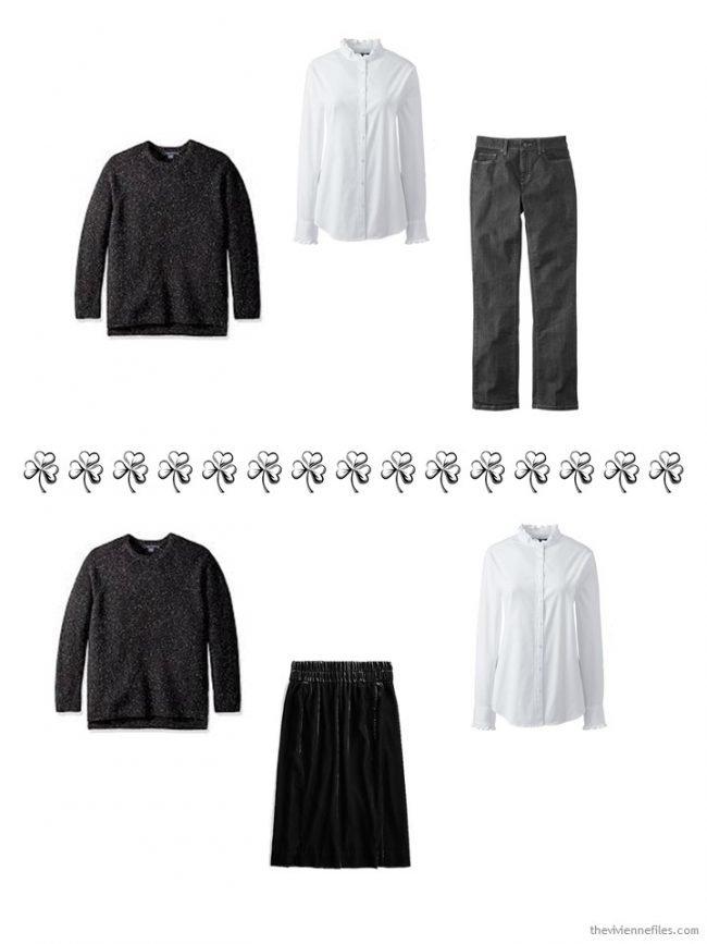 4. 2 ways to wear a tweed crewneck sweater
