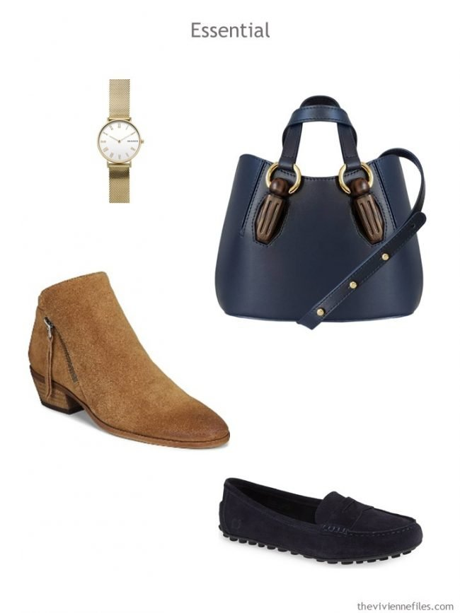 4. Essential accessories in navy and camel