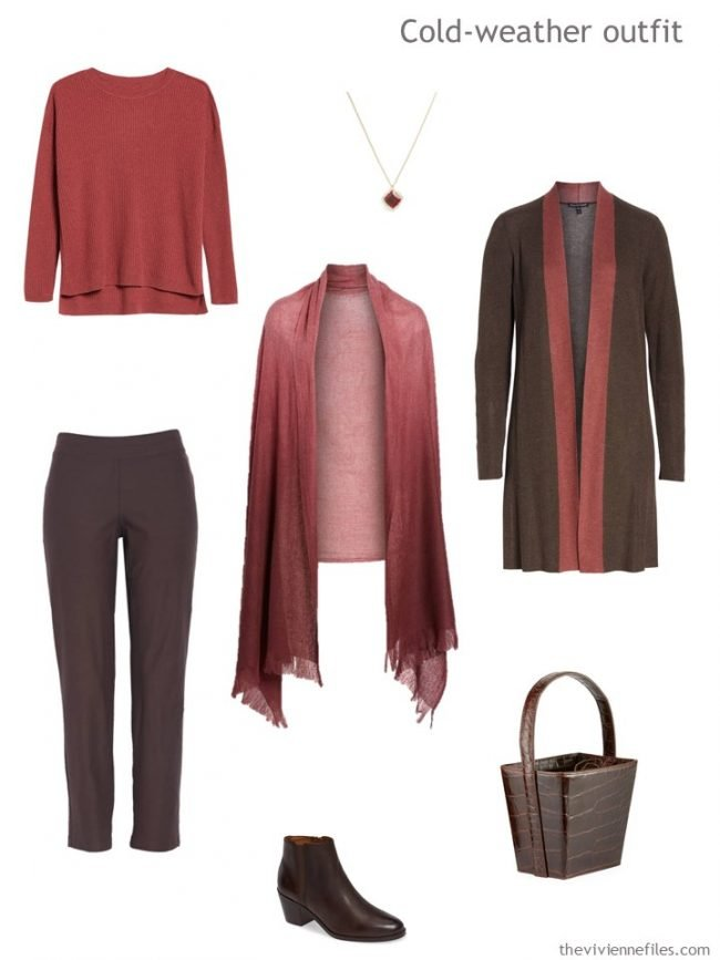 4. autumn outfit in brown and russet red