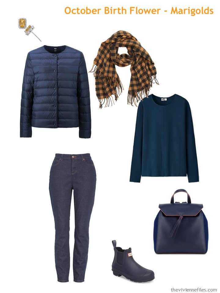 4. navy with marigold accents