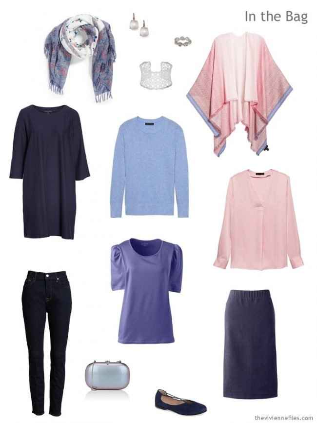 4. six-pack travel capsule wardrobe in navy with pastel accents