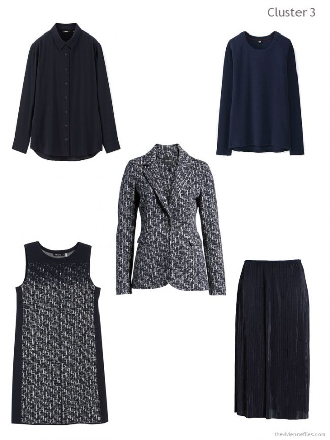 4. wardrobe cluster based on a navy and grey tweed blazer