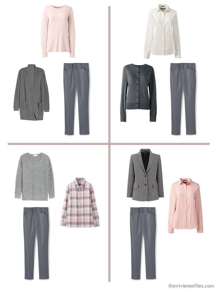 5. 4 ways to wear grey pants from a 13-piece travel wardrobe