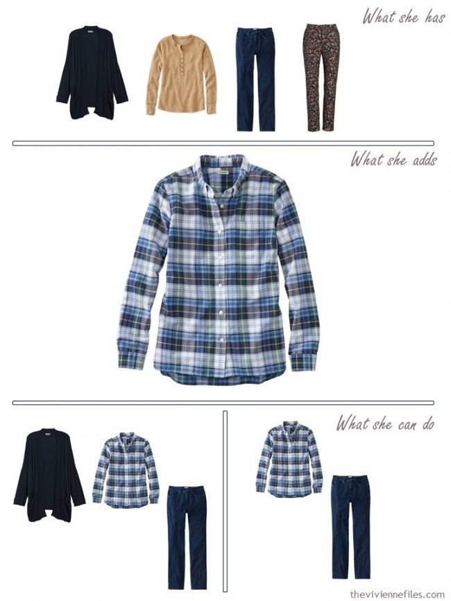 5. Adding a flannel shirt to a capsule wardrobe