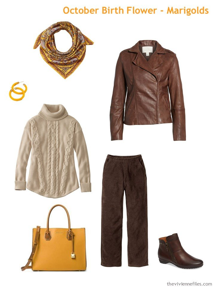 5. brown with marigold accents