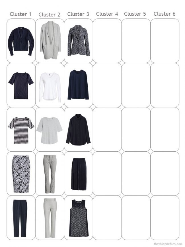 5. halfway through assembling a navy and grey capsule wardrobe