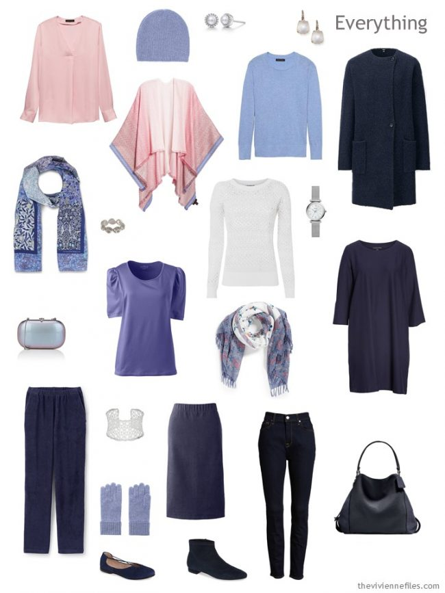 5. travel capsule wardrobe in navy with pastel accents