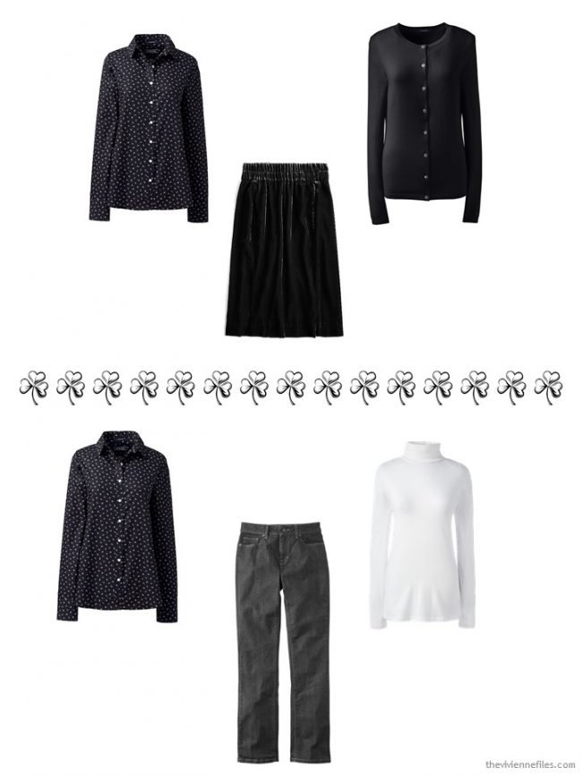 6. 2 ways to wear a black print shirt