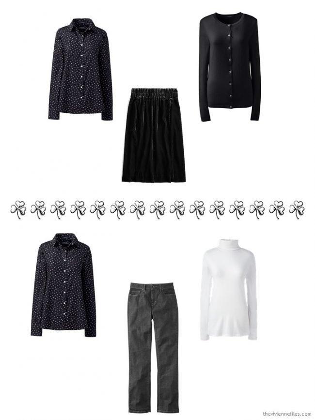 6. 2 ways to wear a black print shirt