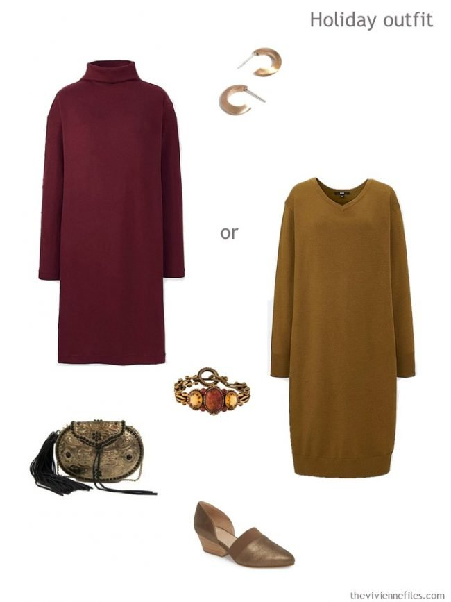 6. 2 winter dresses in wine red and dark camel