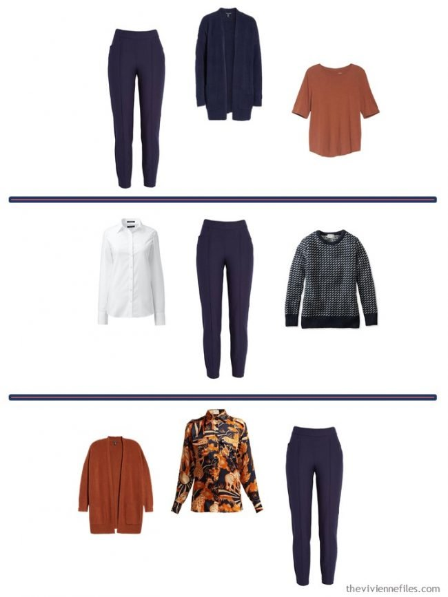 6. 3 ways to wear navy pants from a 4 Cluster Wardrobe