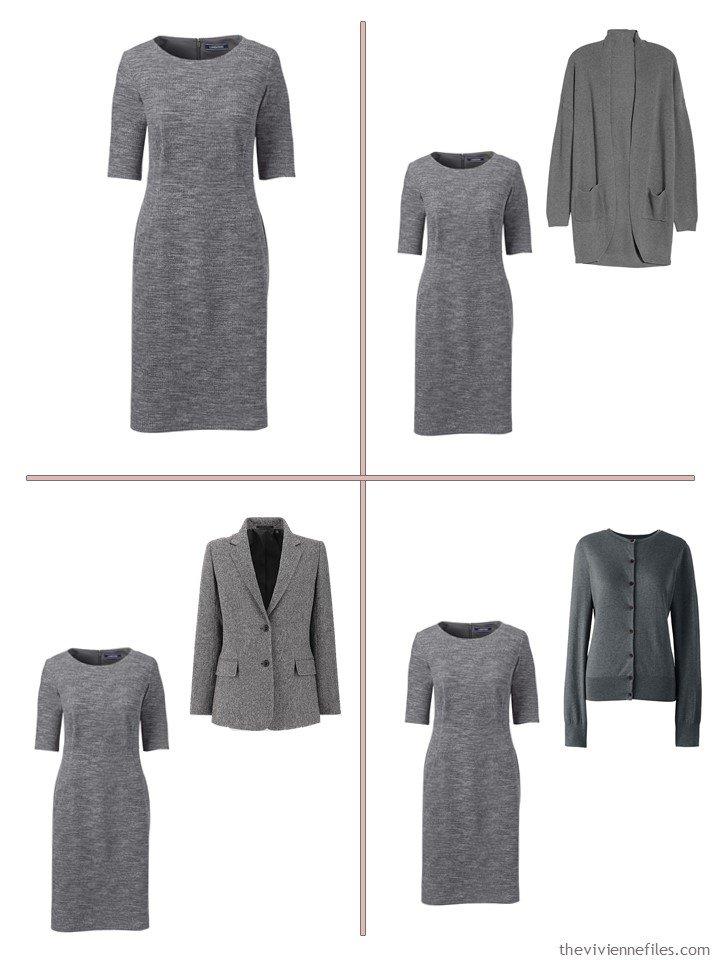 6. 4 ways to wear a grey dress from a 13-piece travel wardrobe