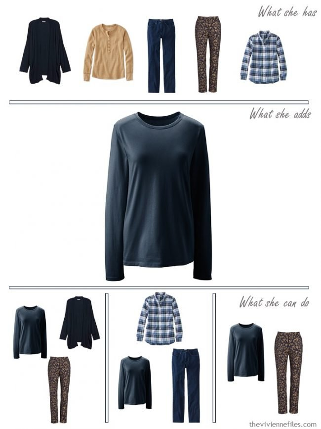 6. Adding a navy tee shirt to a capsule wardrobe