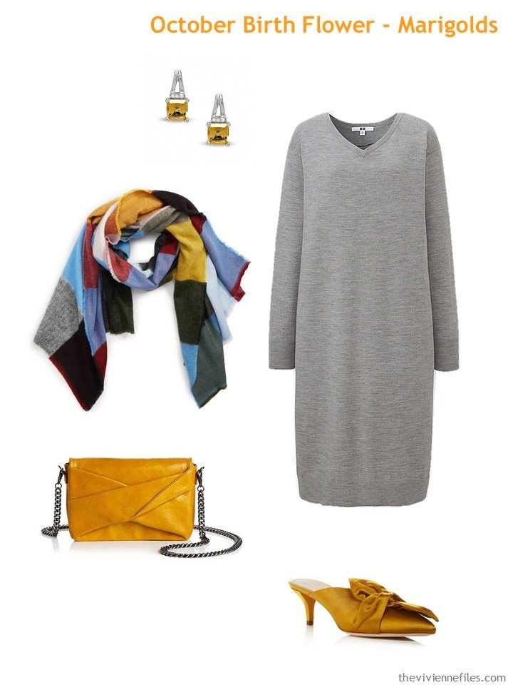 6. grey with marigold accents