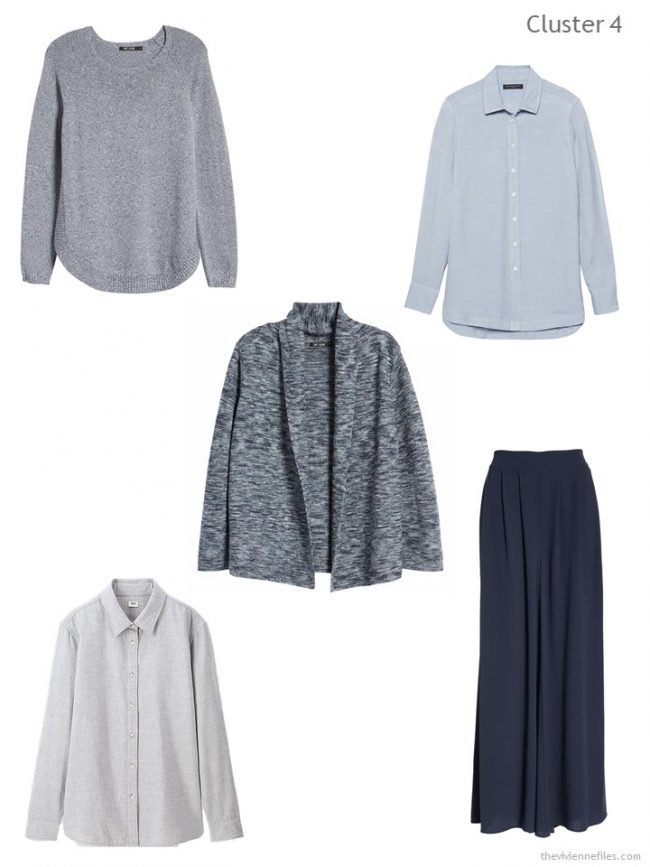 6. wardrobe cluster bsed on a blue and grey tweed cardigan