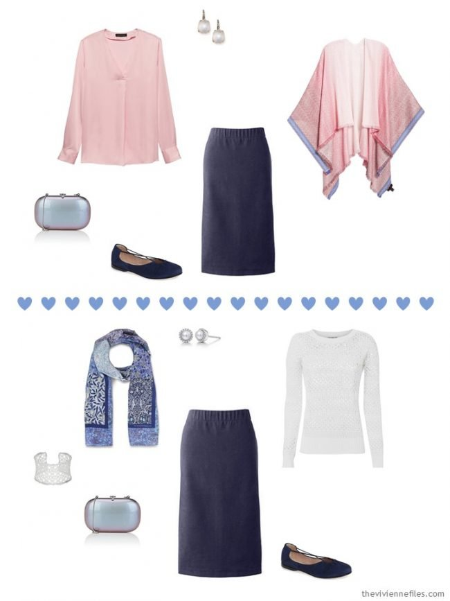 7. 2 ways to wear a navy corduroy skirt from a travel capsule wardrobe