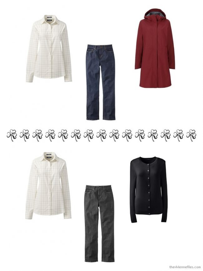 7. 2 ways to wear an ivory windowpane plaid shirt