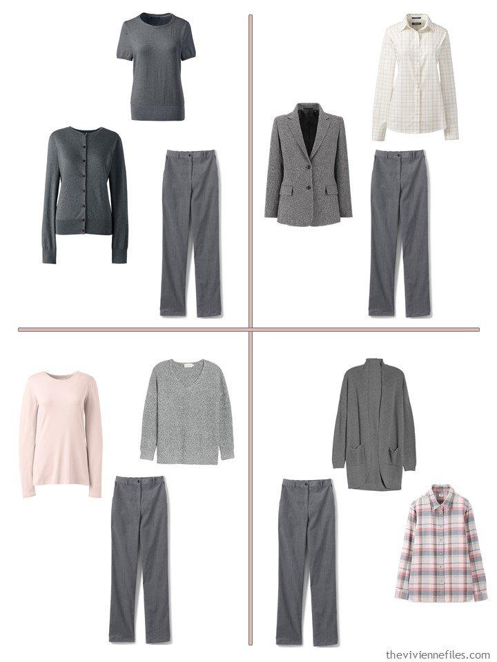 7. 4 ways to wear grey corduroy pants from a 13-piece travel wardrobe