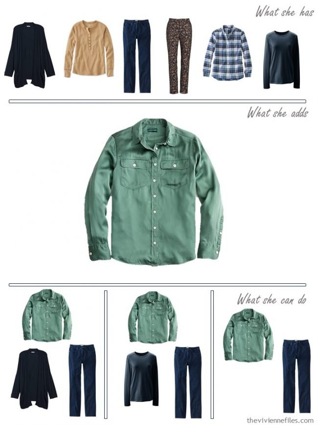 7. adding a green silk shirt to a capsule wardrobe