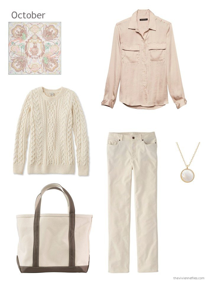 7. beige and blush October outfit