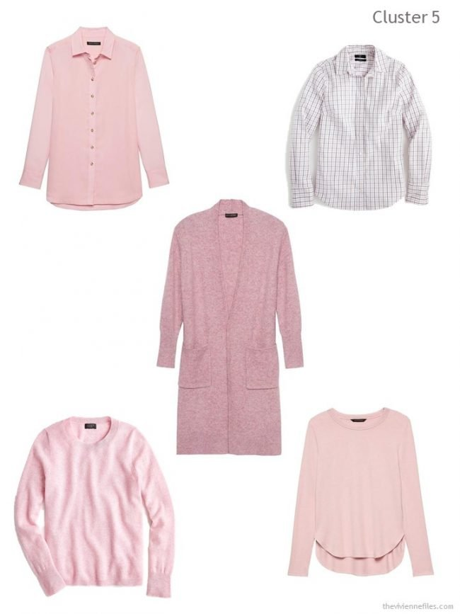 7. wardrobe cluster based on a pink cardigan