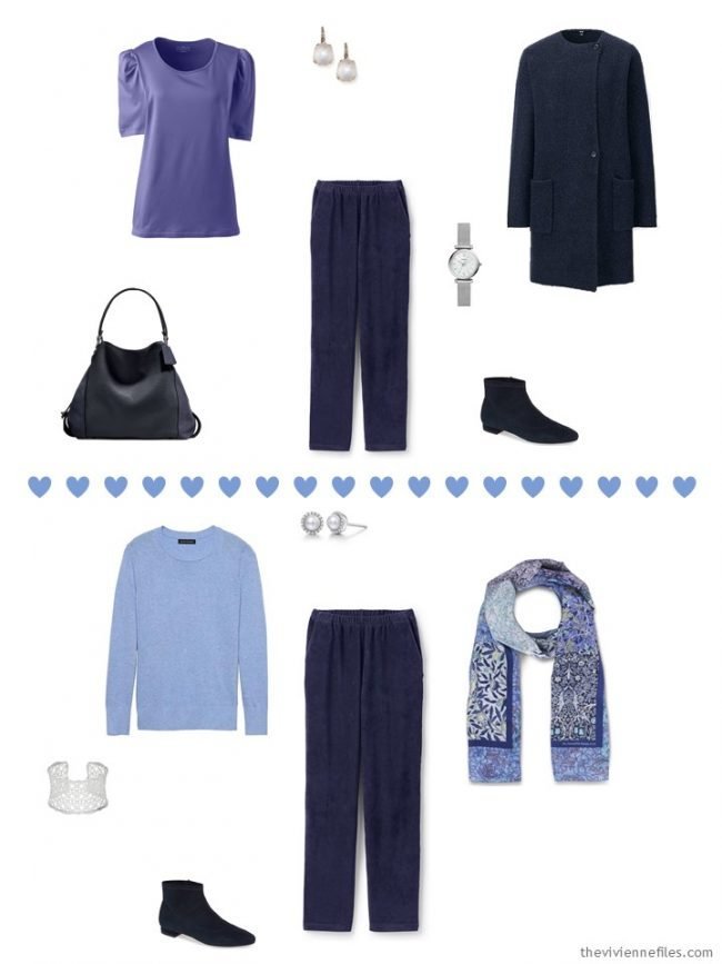 8. 2 ways to wear navy corduroy pants from a travel capsule wardrobe