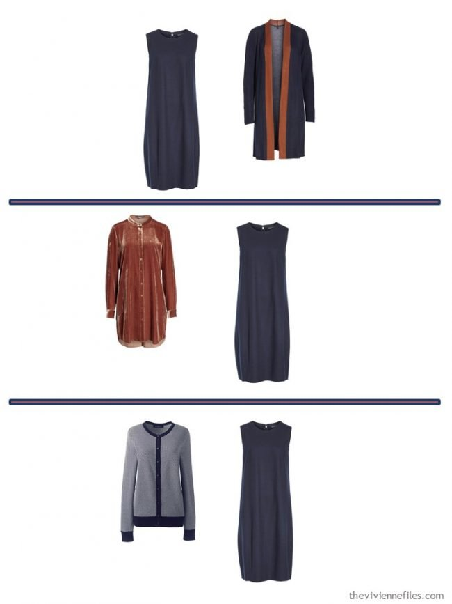 8. 3 ways to wear a navy dress from a 4 Cluster Wardrobe