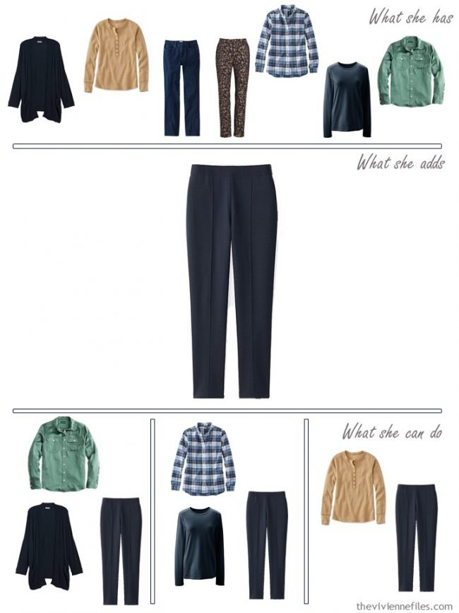 8. adding navy dress pants to a capsule wardrobe