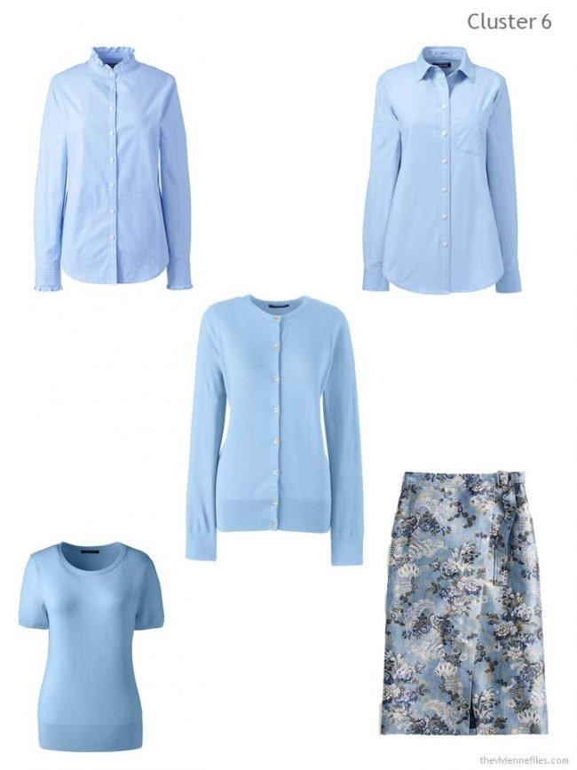 8. wardrobe cluster based on a blue cardigan