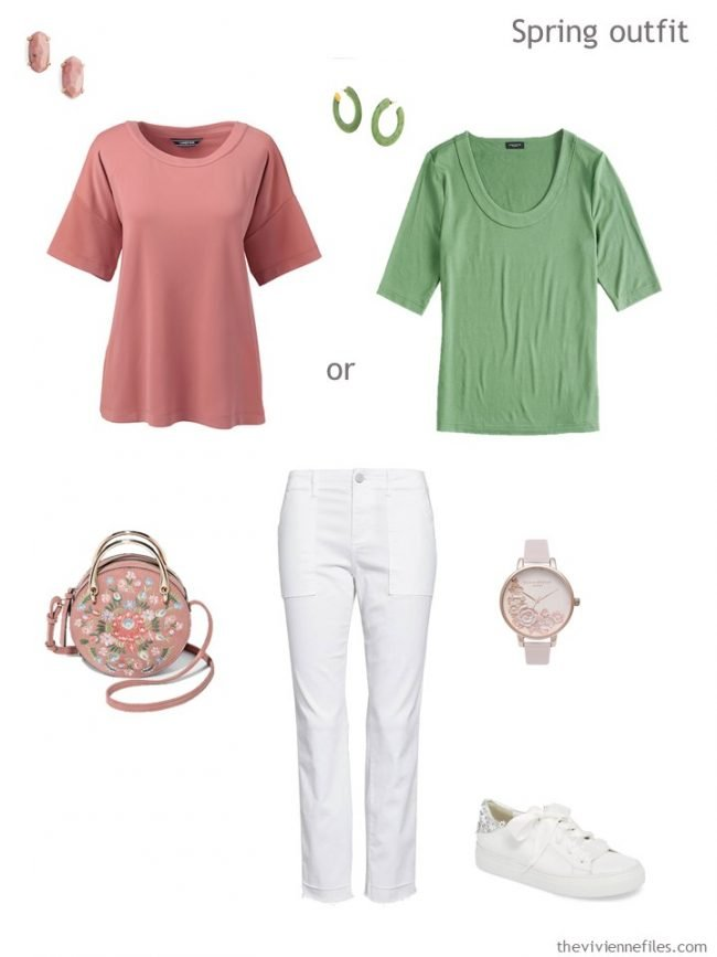 8.spring outfit in pink, green and white