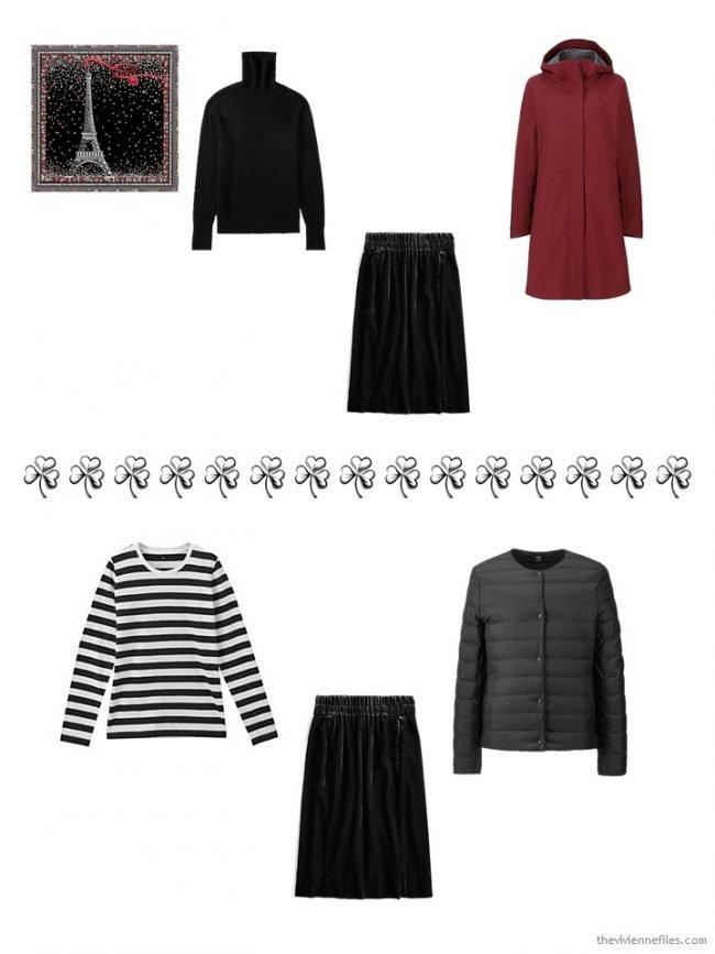 9. 2 ways to wear a black velvet skirt