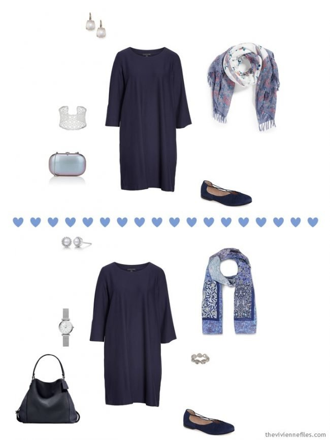 9. 2 ways to wear a navy dress from a travel capsule wardrobe