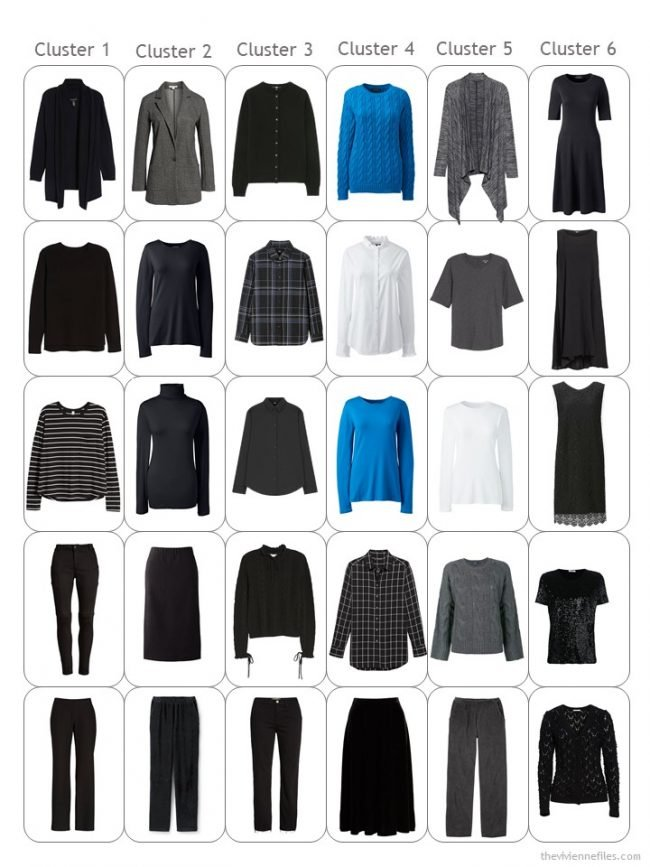 9. 30-piece capsule wardrobe in black, white, grey and blue